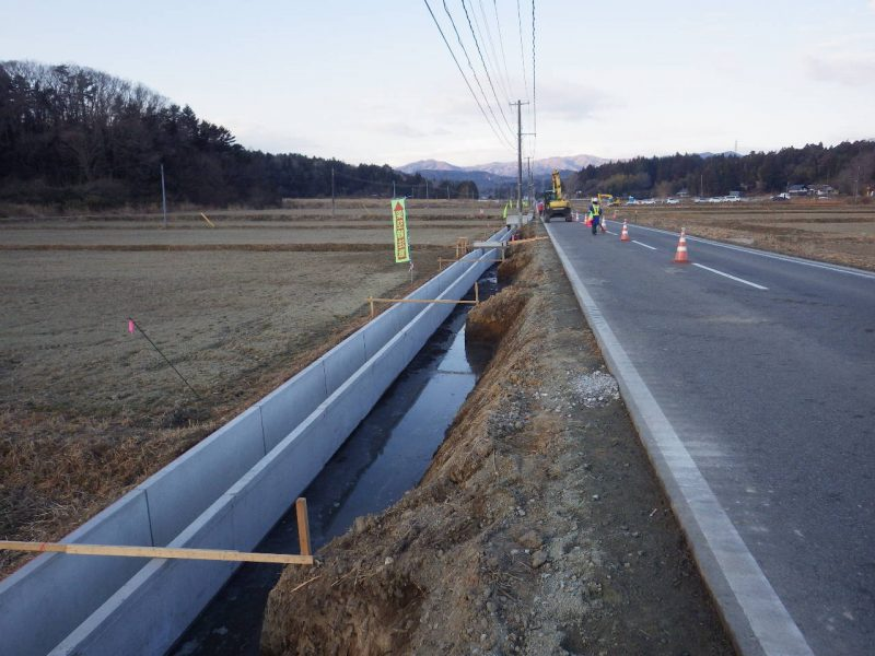 排水構造物工・側溝設置
